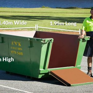 Skip Bin Size 0.9m High x 1.95m Long x 1.4m Wide