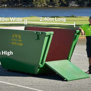 Skip Bin Size 1.2m High x 2.4m Long x 1.4m Wide