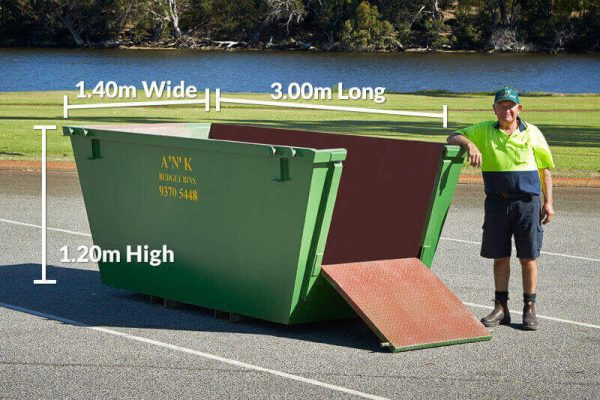 Skip Bin Size 1.2m High x 3m Long x 1.4m Wide