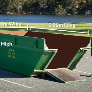 Skip Bin Size 1.2m High x 3.5m Long x 1.7m Wide