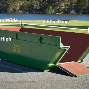 Skip Bin Size 1.2m High x 4.5m Long x 1.7m Wide